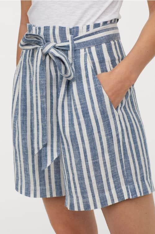 Pantalones cortos con estampado de rayas
