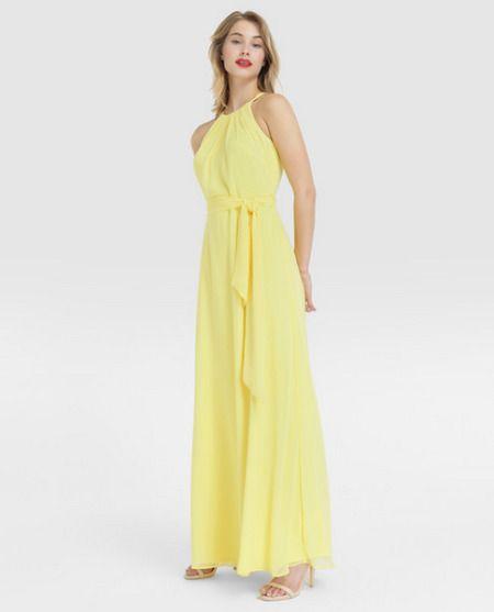 Vestido largo amarillo con escote halter
