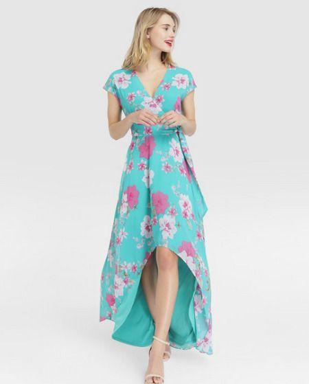 Vestido largo asimétrico con estampado floral