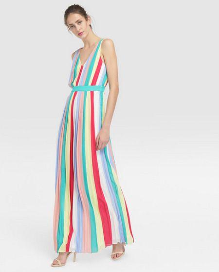 Vestido largo plisado de rayas