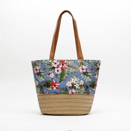 Bolso de rafia con estampado floral