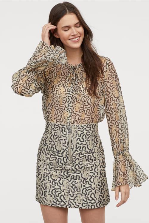 Falda con diseño brocado HM Primavera 2019