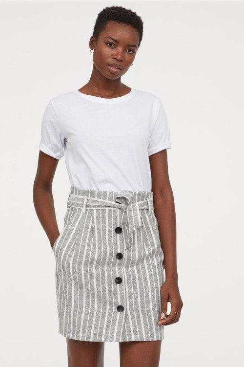 Falda con estampado de rayas HM Primavera 2019
