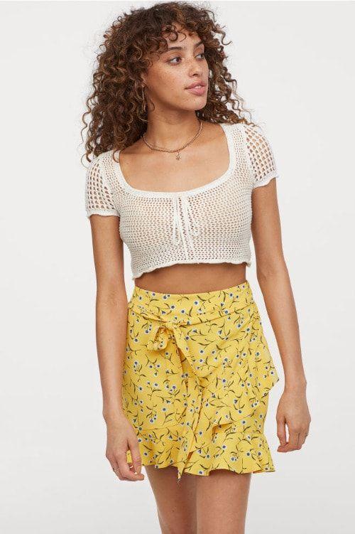 Falda de volantes con print floral HM Primavera 2019