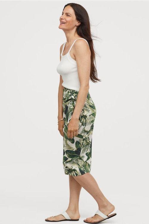 Falda drapeada con print de palmeras
