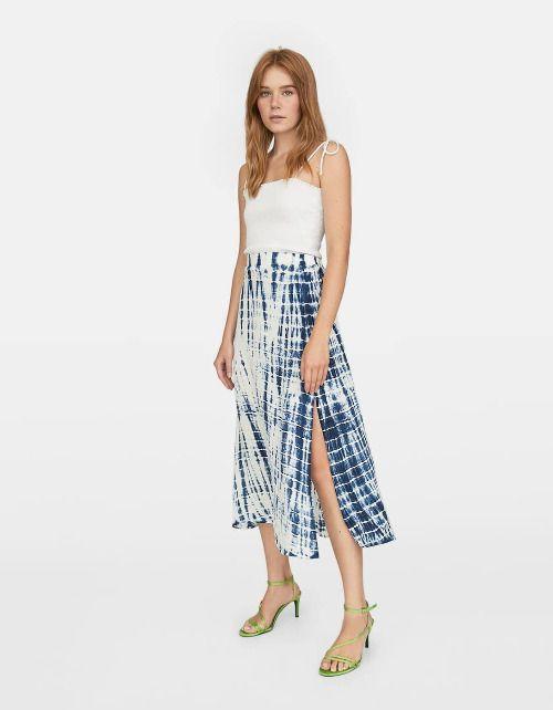 Falda midi con estampado tie dye