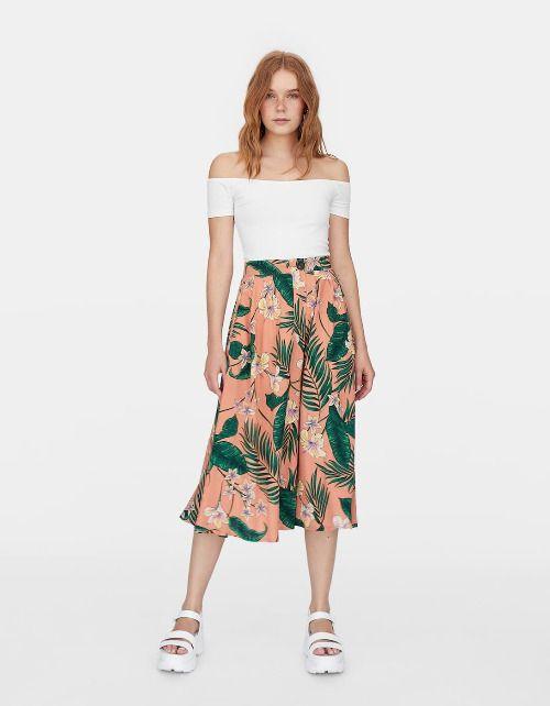 Falda midi con estampado tropical