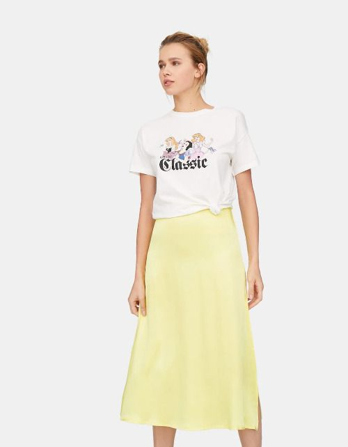 Falda midi de satén amarilla