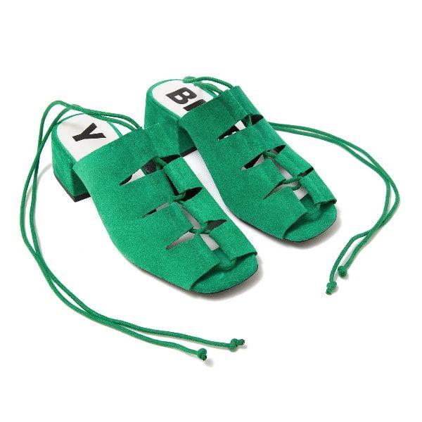 Sandalia de tacón de serraje verde