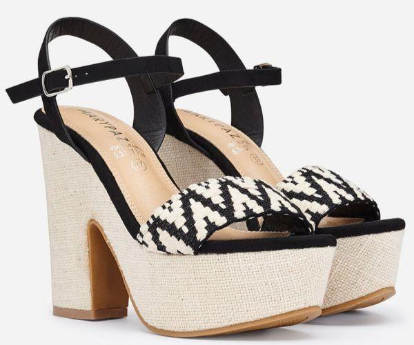 Sandalias de tacón alto de rafia