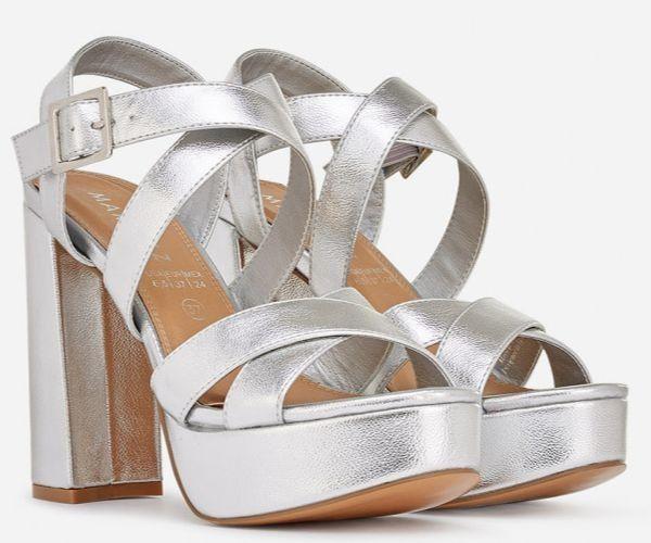 Sandalias de tacón alto plateadas