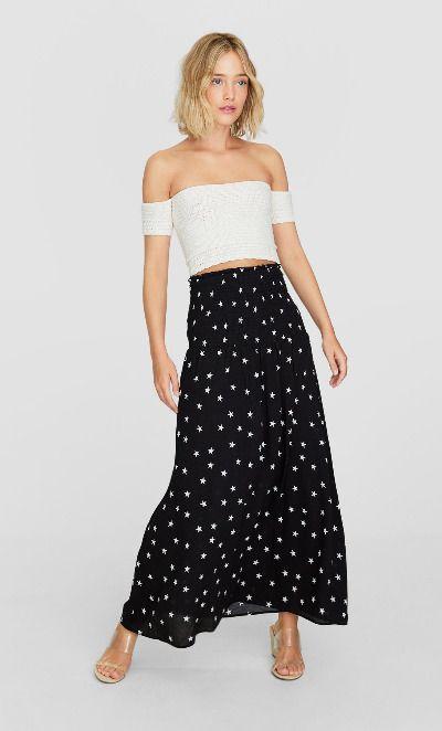 Falda larga con estampado de estrellas