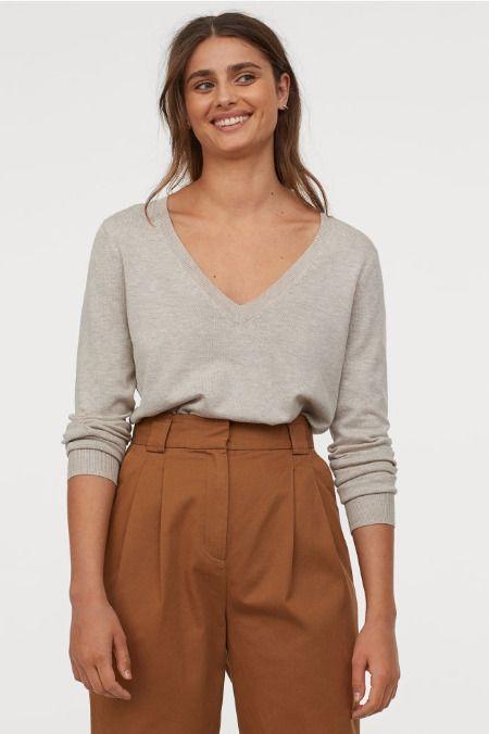 Jersey de punto fino beige de H&M