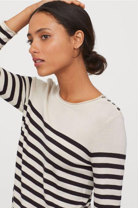 Jersey de punto fino con estampado de rayas de H&M