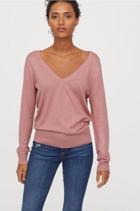 Jersey de punto fino en rosa palo escote en Vde H&M