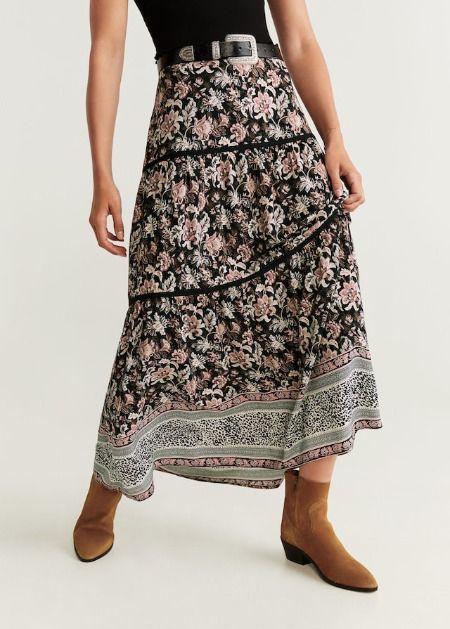 Falda larga con estampado de flores de Mango