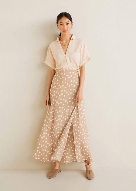 Falda larga con print de lunares de Mango
