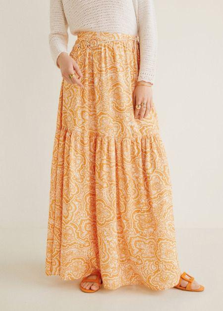 Falda larga paisley de Mango
