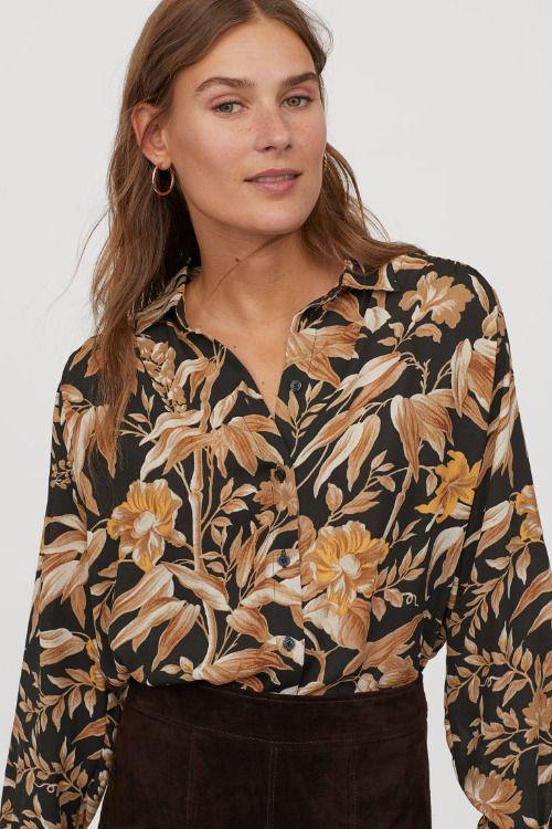 Blusa de manga larga con estampado de flores y hojas de H&M