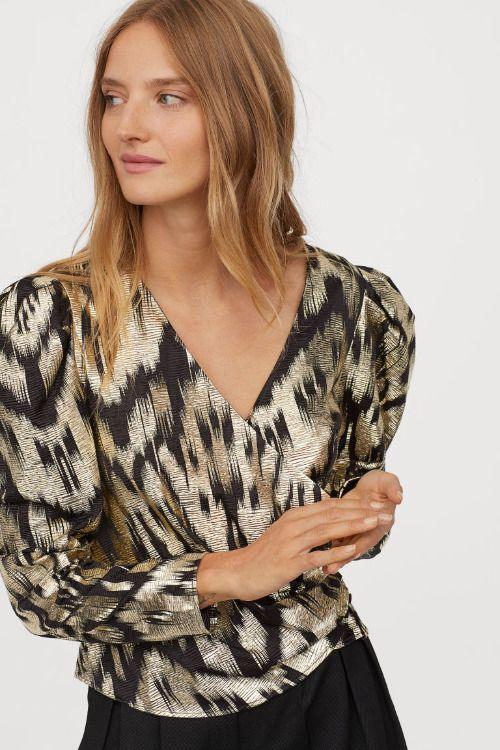 Blusa drapeada con estampado en negro y plata H&M