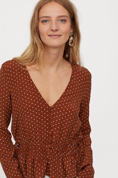 Blusa marrón con print de lunares H&M