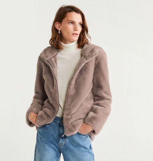Abrigo de pelo marrón con capucha de Mango