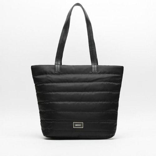 Bolso de nylon negro estilo shopper