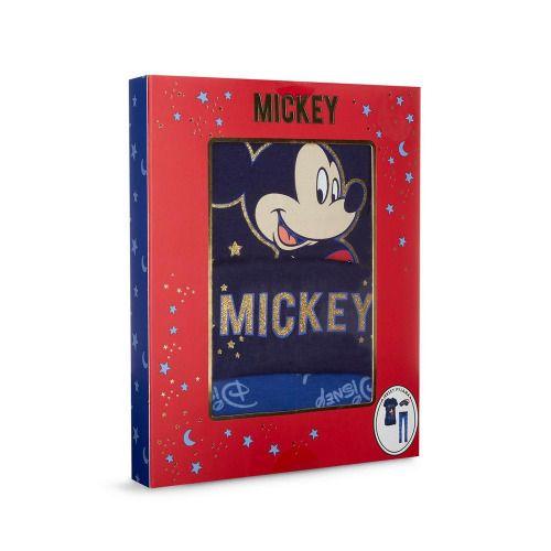 Caja de regalo con pijama de punto y antifaz de Mickey y Minnie