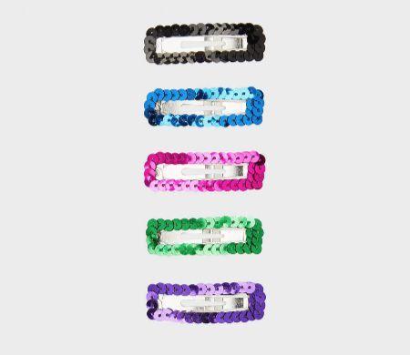 Kit de clips con lentejuelas multicolor de Bershka