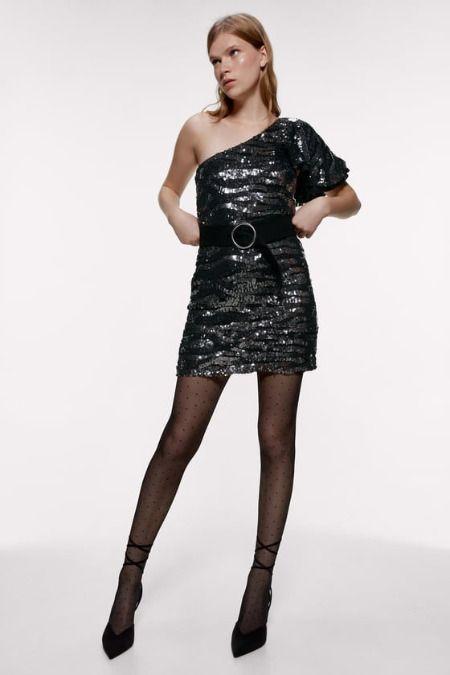Vestido asimétrico de lentejuelas de Zara