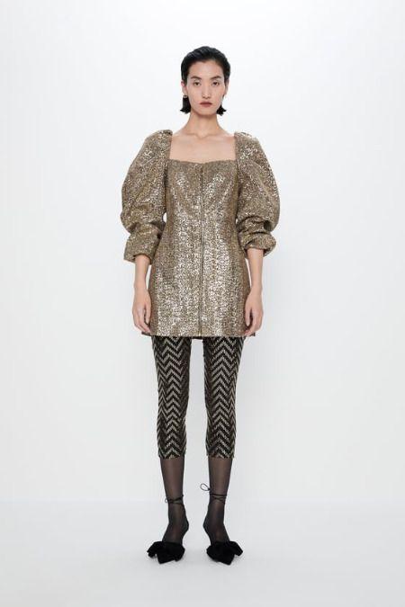 Vestidos de lentejuelas de Zara - Dorado con mangas abullonadas