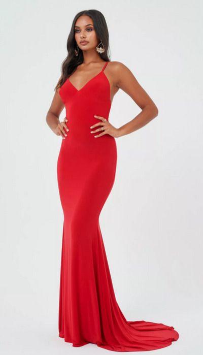 Vestido largo de fiesta ceñido rojo de TopShop