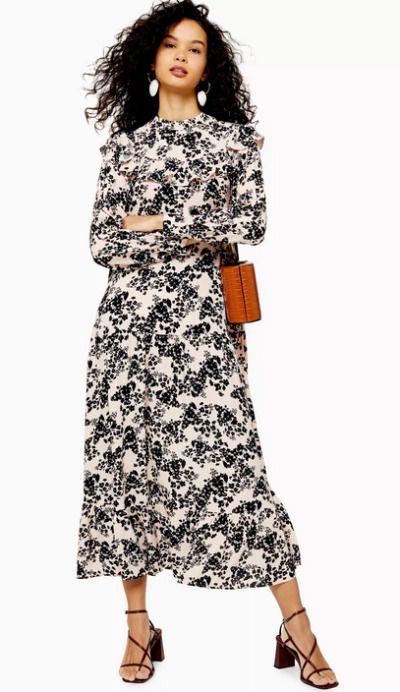 Vestido largo de fiesta con estampado floral de TopShop