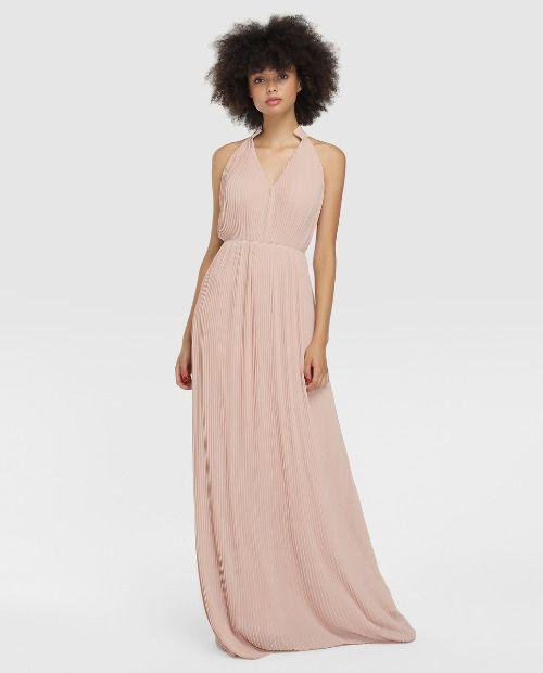 Vestido largo plisado de color rosa
