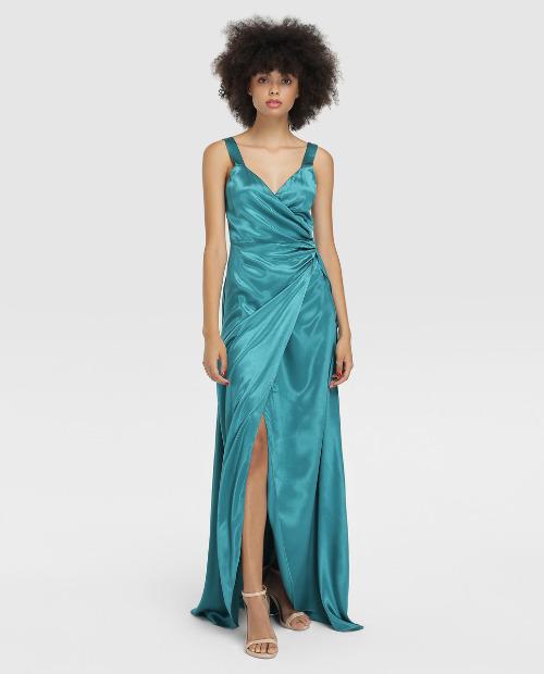 Vestido satinado de tirantes de color azul turquesa