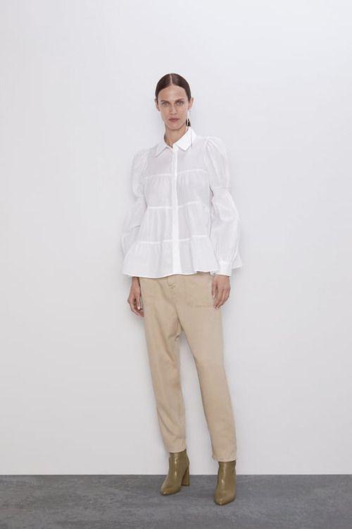 Jeans baggy beige de Zara