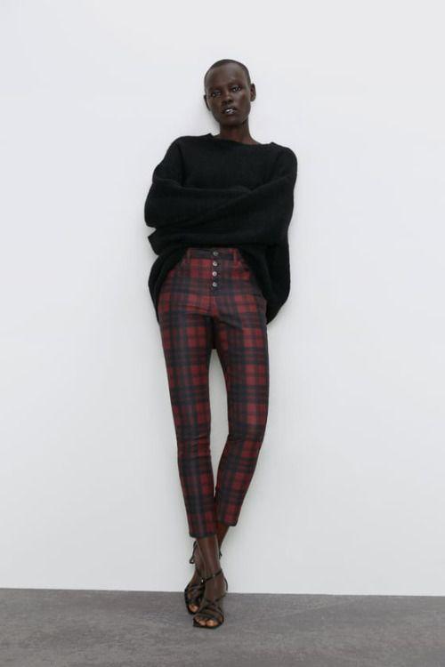 Jeans con estampado de cuadros de Zara