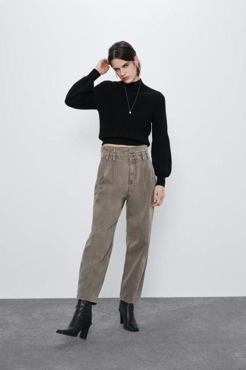 Jeans paperbag de tiro medio y cintura elástica de Zara