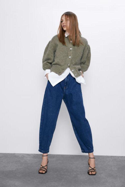 Jeans slouchy de tiro alto con pinzas de Zara
