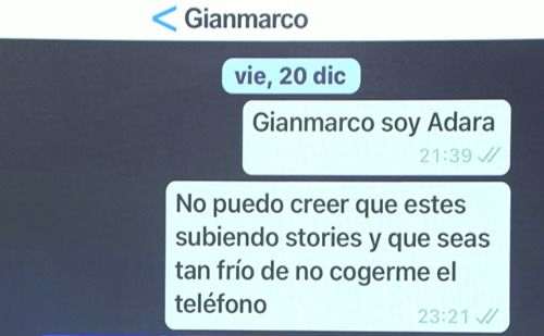 La conversación de WhatsApp entre Adara y Gianmarco