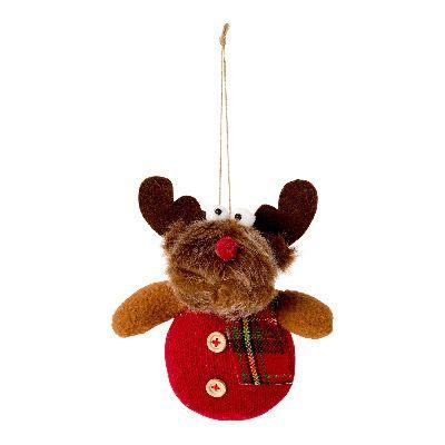 Peluche rojo de reno de Navidad para el Árbol