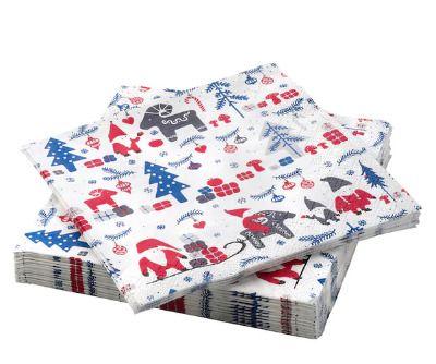 Servilletas de papel con motivos navideños de Ikea