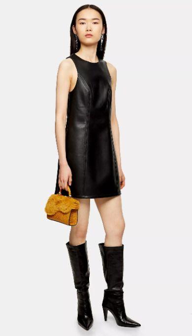 Vestido corto de piel en color negro