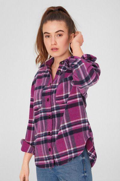 Camisa de franela de cuadros en rosa de CA