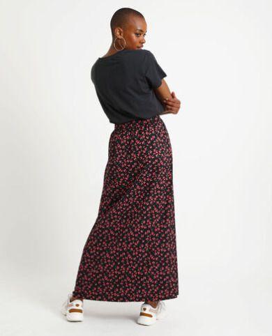 Falda larga con estampado floral