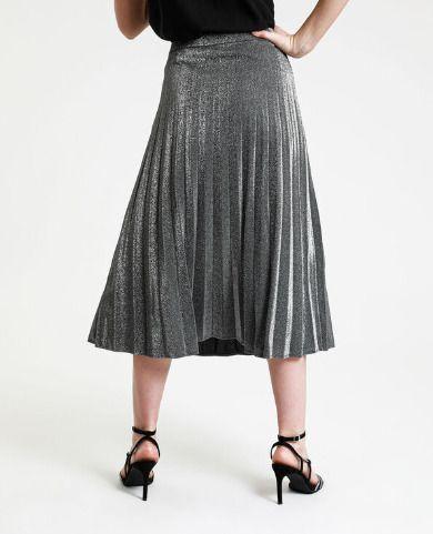 Falda plisada de lentejuelas plateada