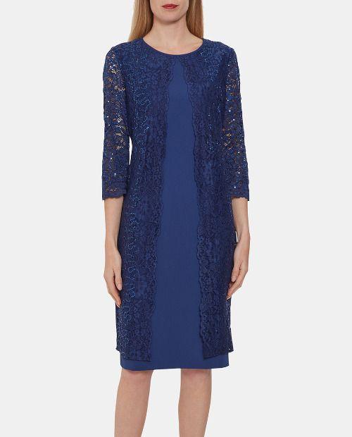 Vestido de fiesta midi con encaje azul