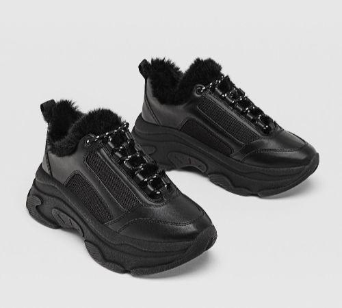 Zapatillas maxi suela negras con pelo interior