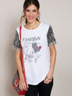 "Camiseta de manga corta ""Fashion"" con flecos"