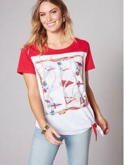 Camiseta de manga corta con estampado marinero y nudo
